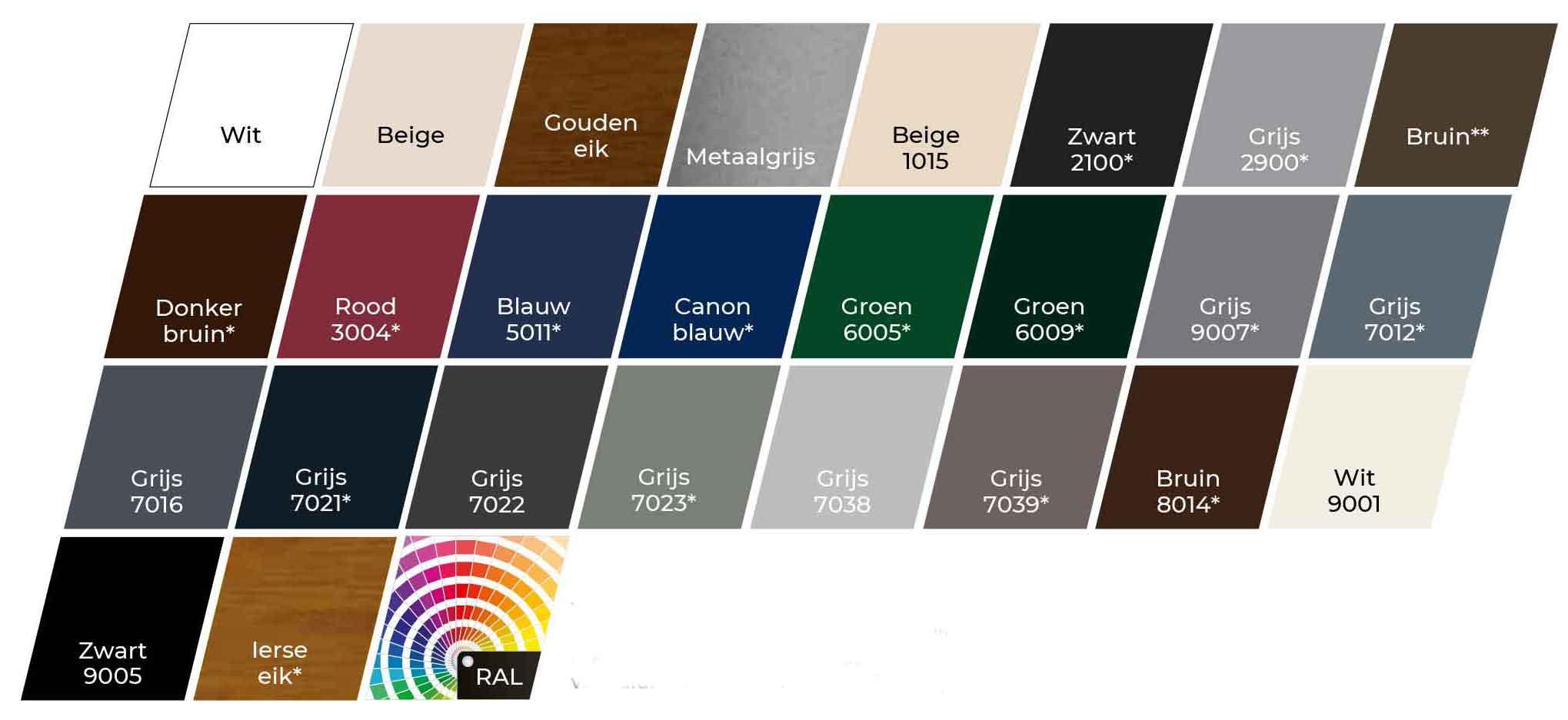 kleur kiezen rolluik